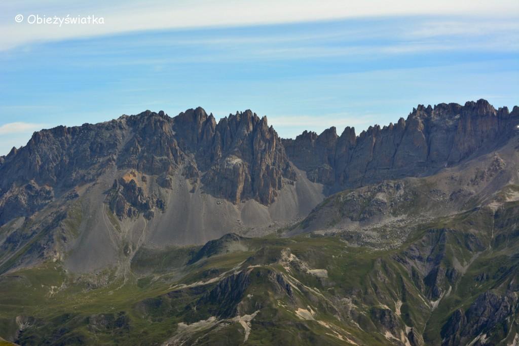 Rochers de la Grande Pare, widok z Col du Galibier, Alpy, Francja