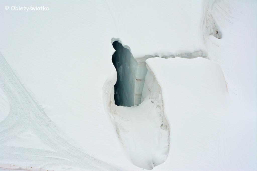 Jungfraujoch - szpalta w lodowcu