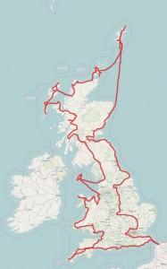 Wielka Brytania - trasa podróży 2015