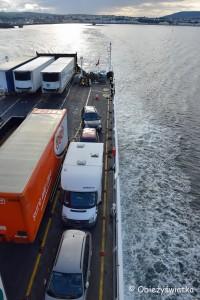 Prom z wyspy Isle of Man do Anglii (nasz kamper całkiem z brzegu)