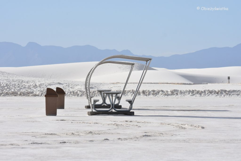 Miejsce na pikinik, White Sands National Monument, USA