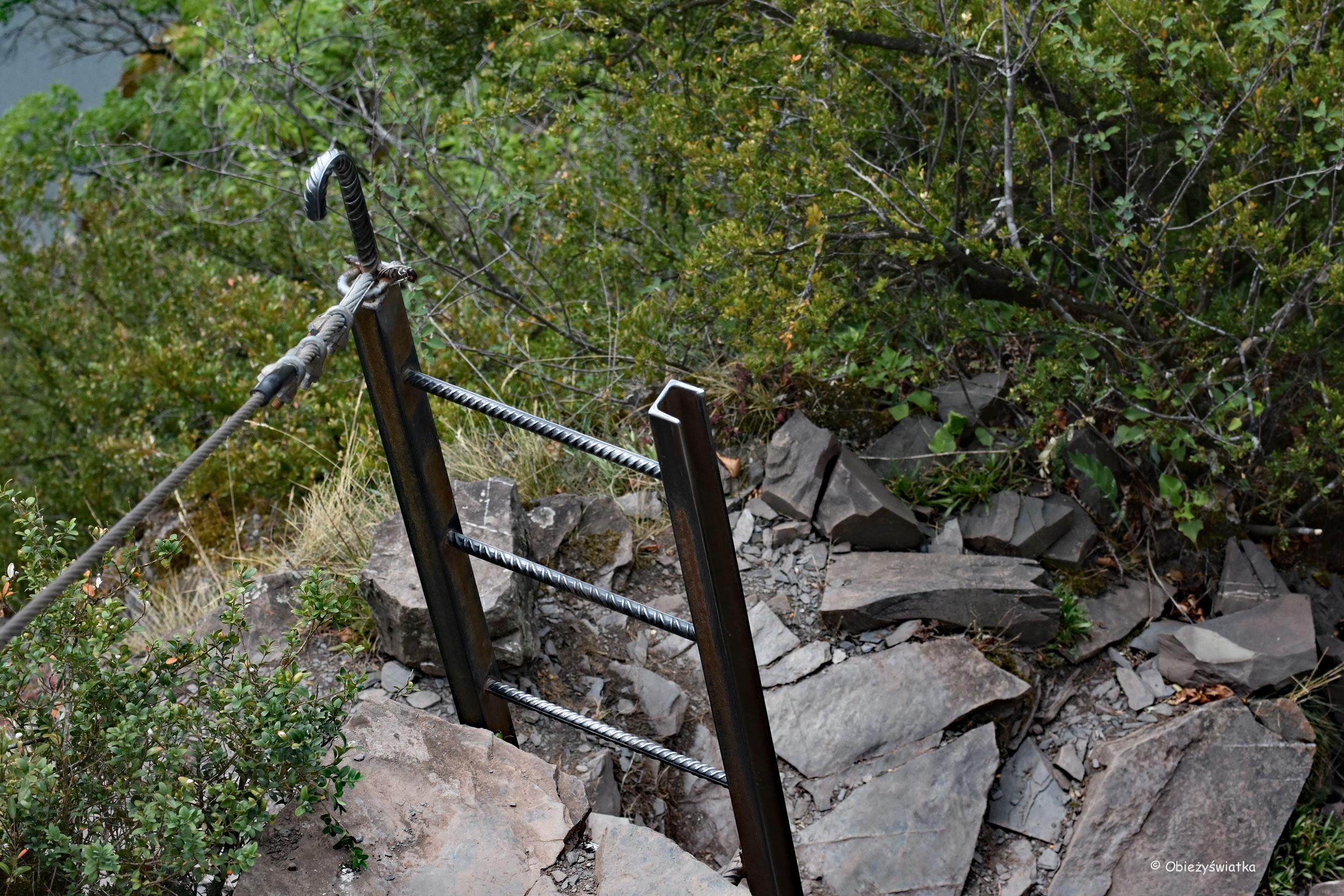 Drabinka - część żelaznej perci nad Mozelą