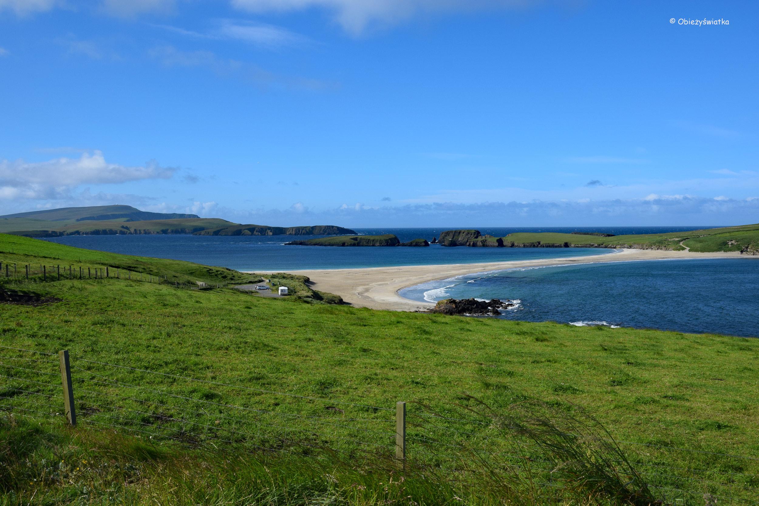 Tombolo i wyspa św. Niniana, Szkocja, Wyspy Szetlandzkie