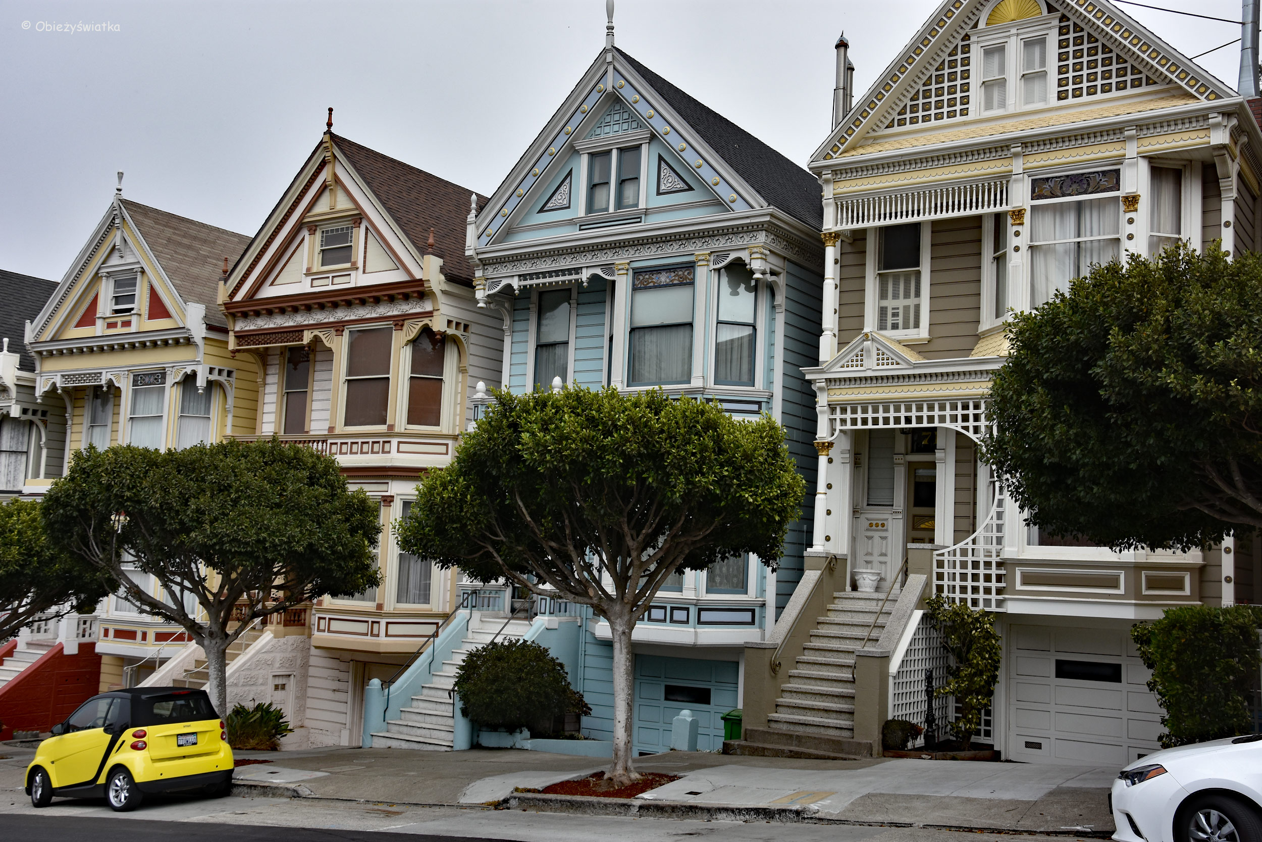 Painted Ladies w San Francisco - widok ze skweru Alamo