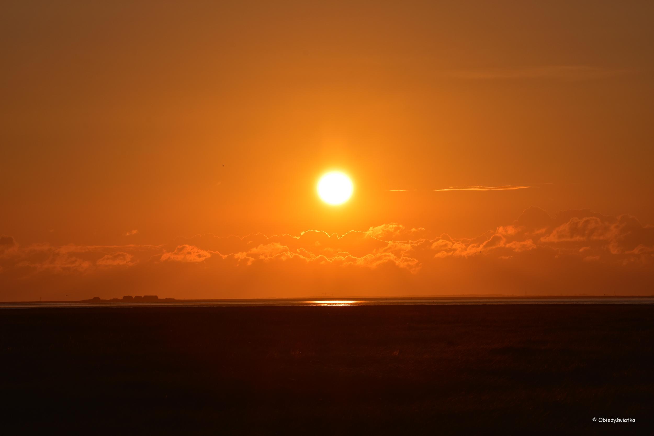 Halligen - zachód słońca na Morzu Wattowym
