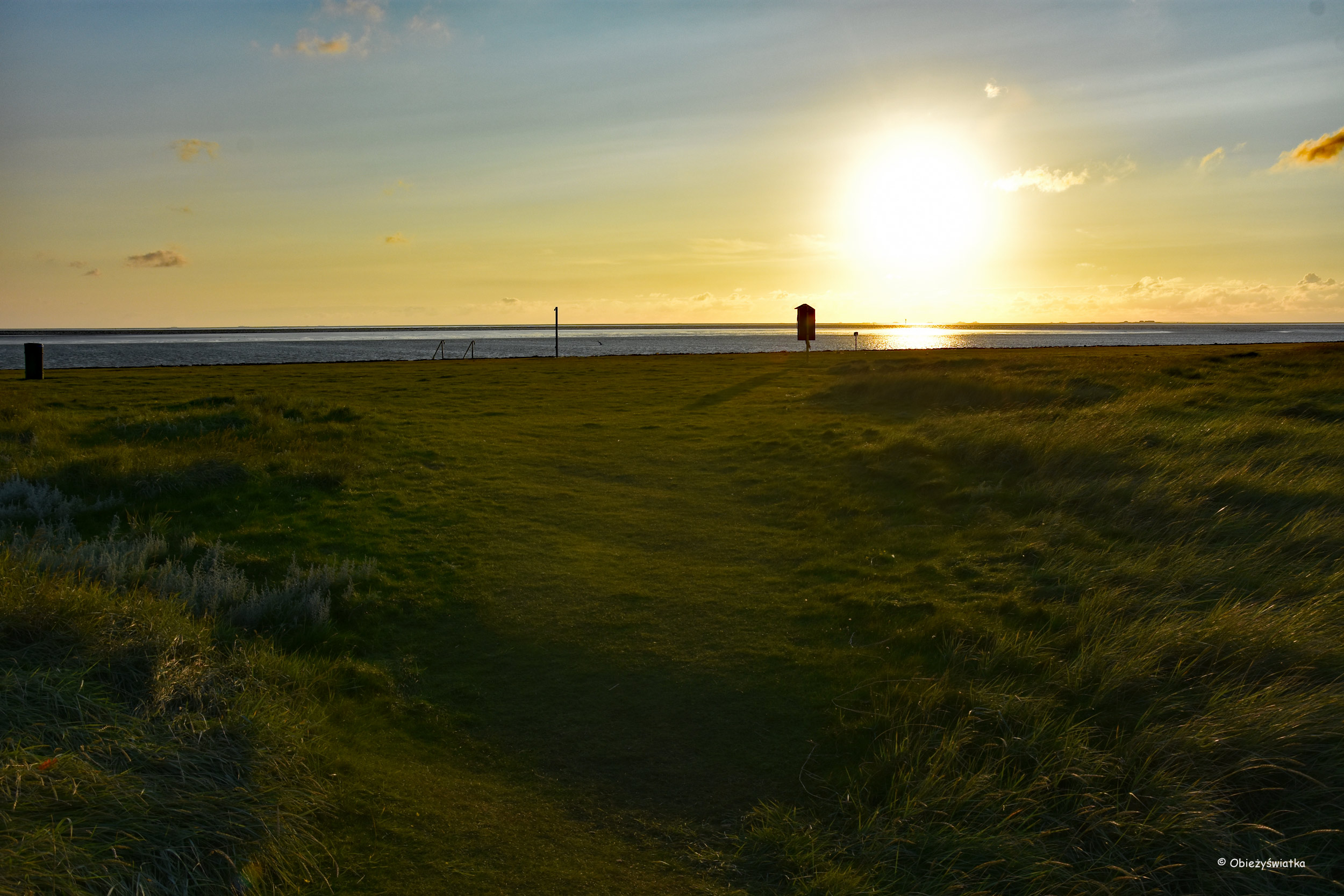 Hamburger Hallig - zachód słońca na Morzu Północnym