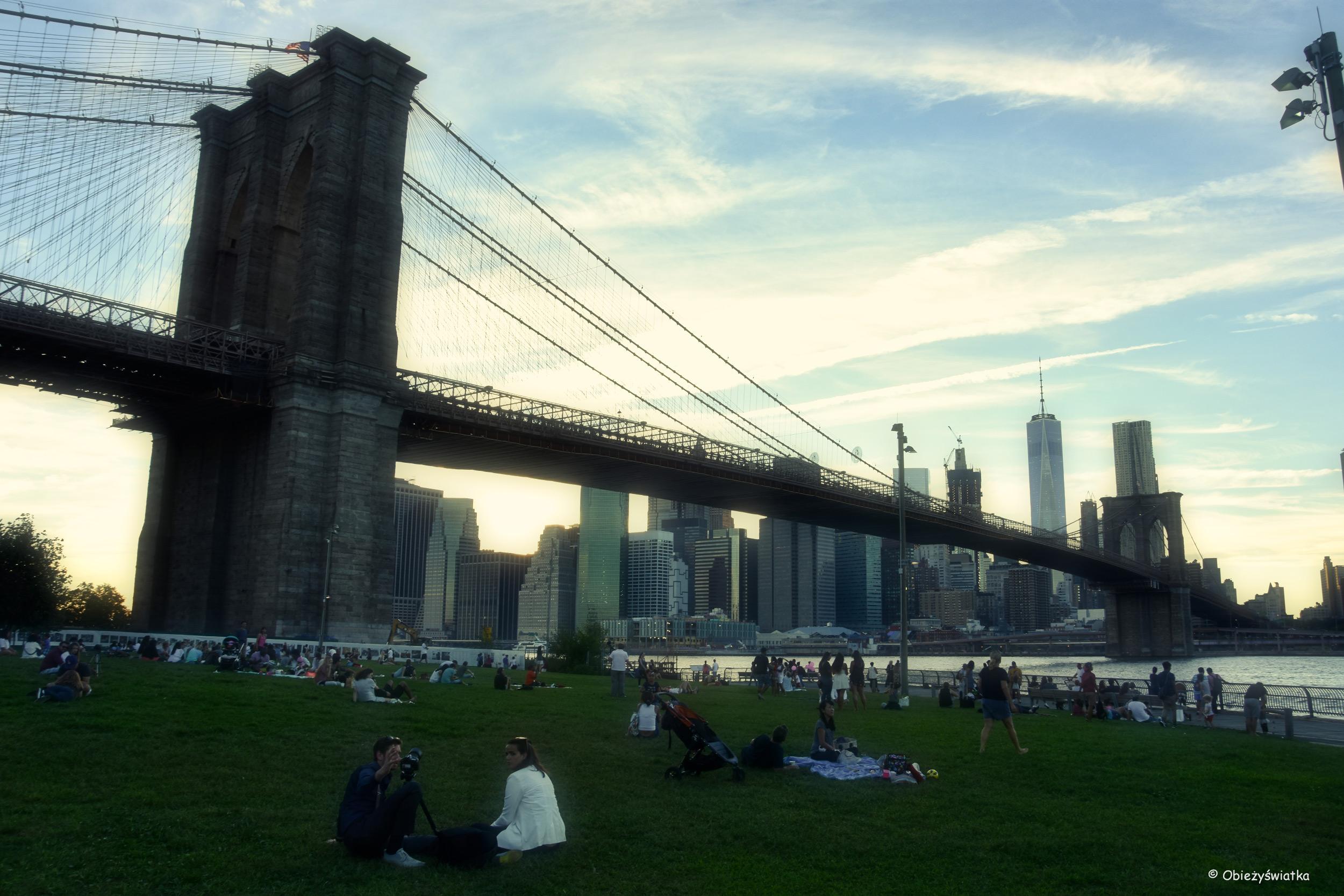 Most Brookliński i Manhattan, widok z Parku Brooklińskiego