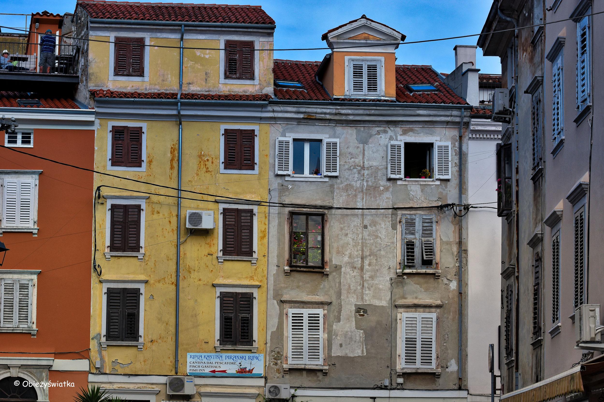 Kolorowe kamienice w Piranie