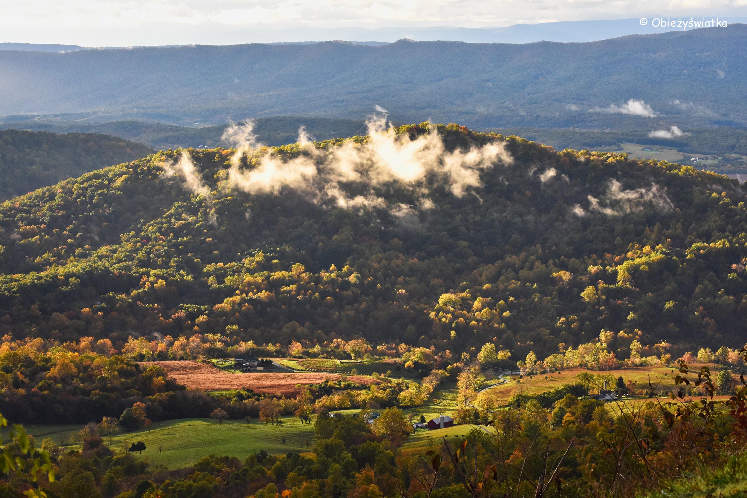 Widok na jedną z dolin - Park Narodowy Shenandoah, USA