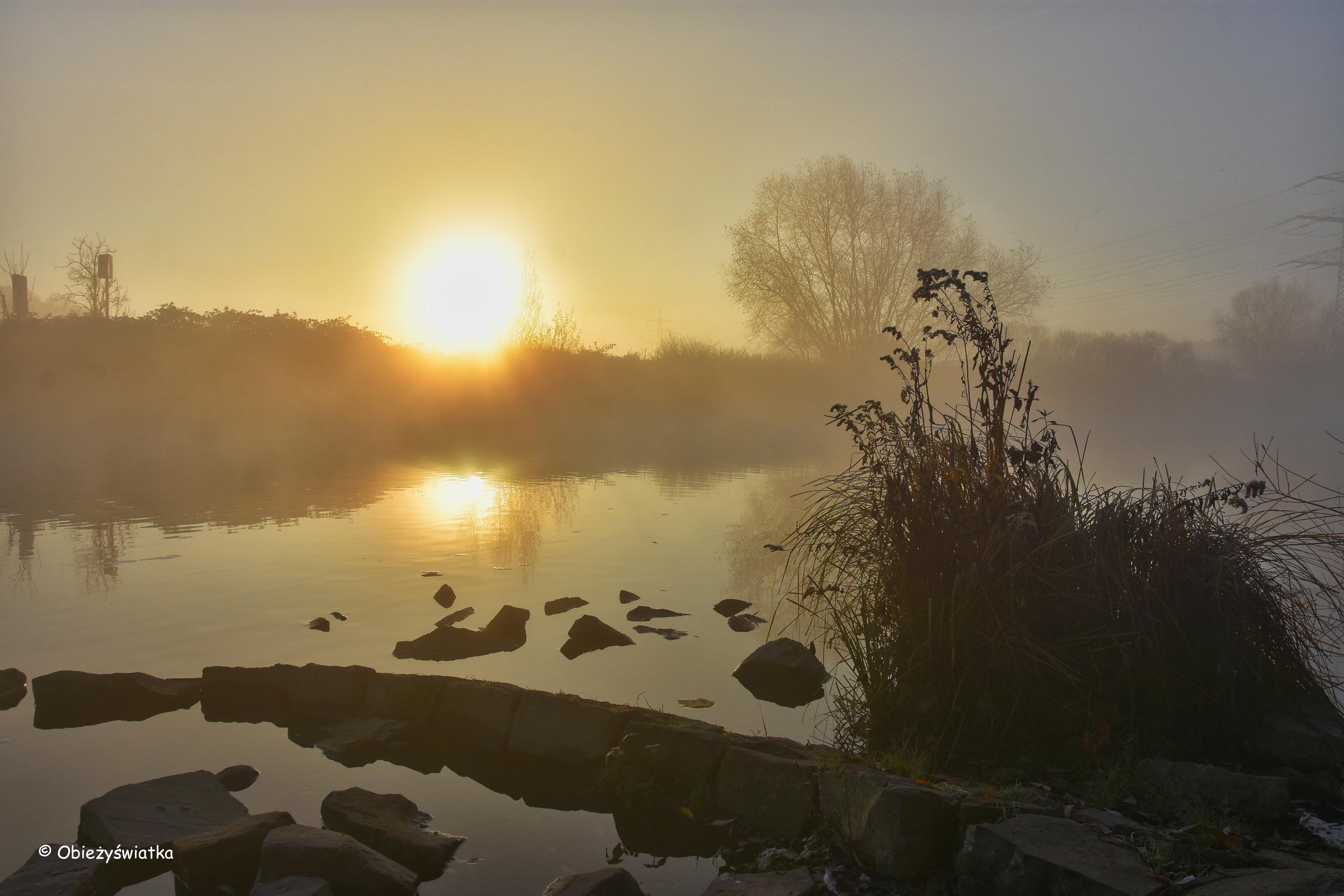 Rzeka Ruhr i piękny wschód słońca w listopadzie