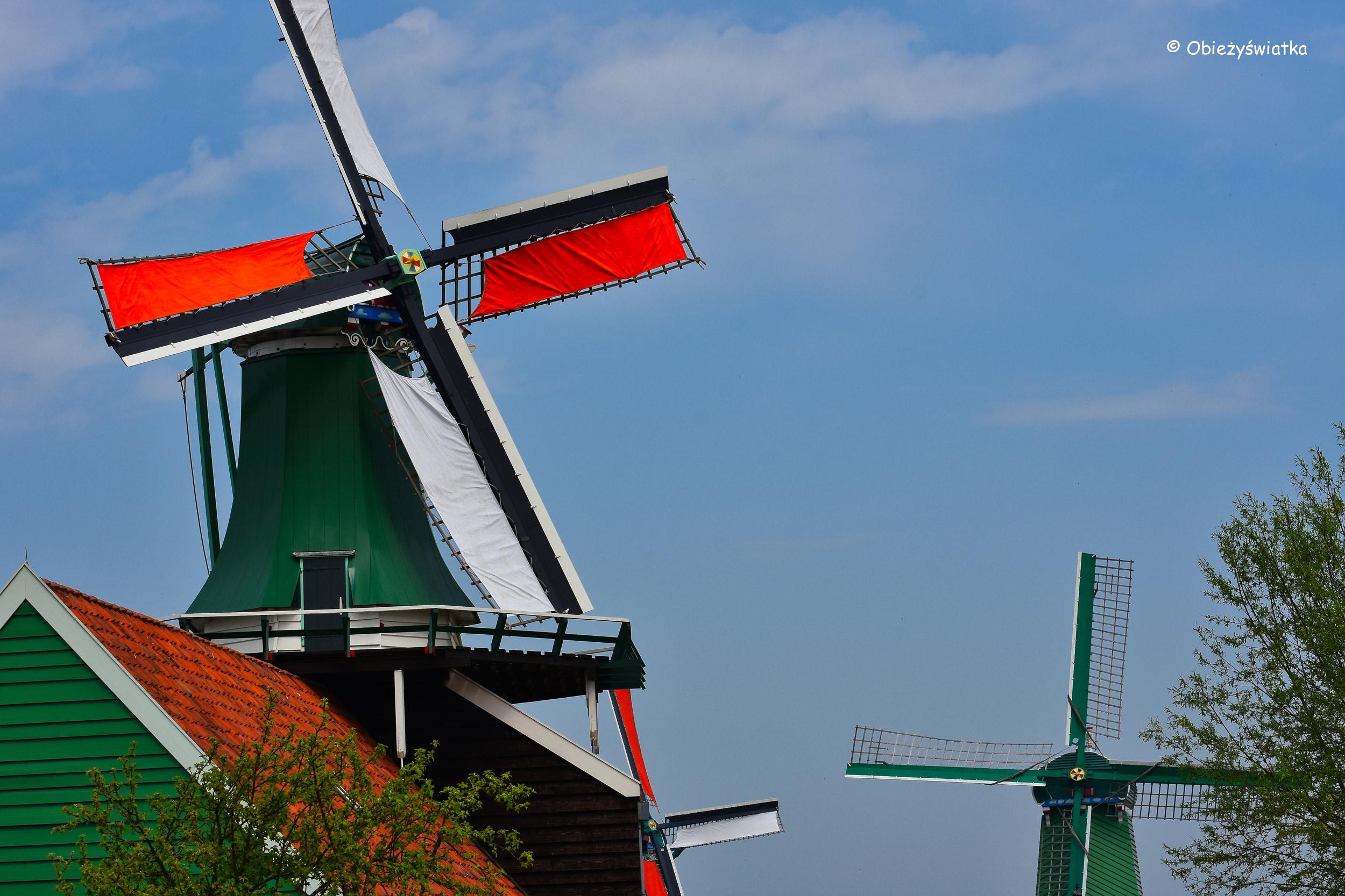 Zabytkowe młyny w skansenie Zaanse Schans, Holandia