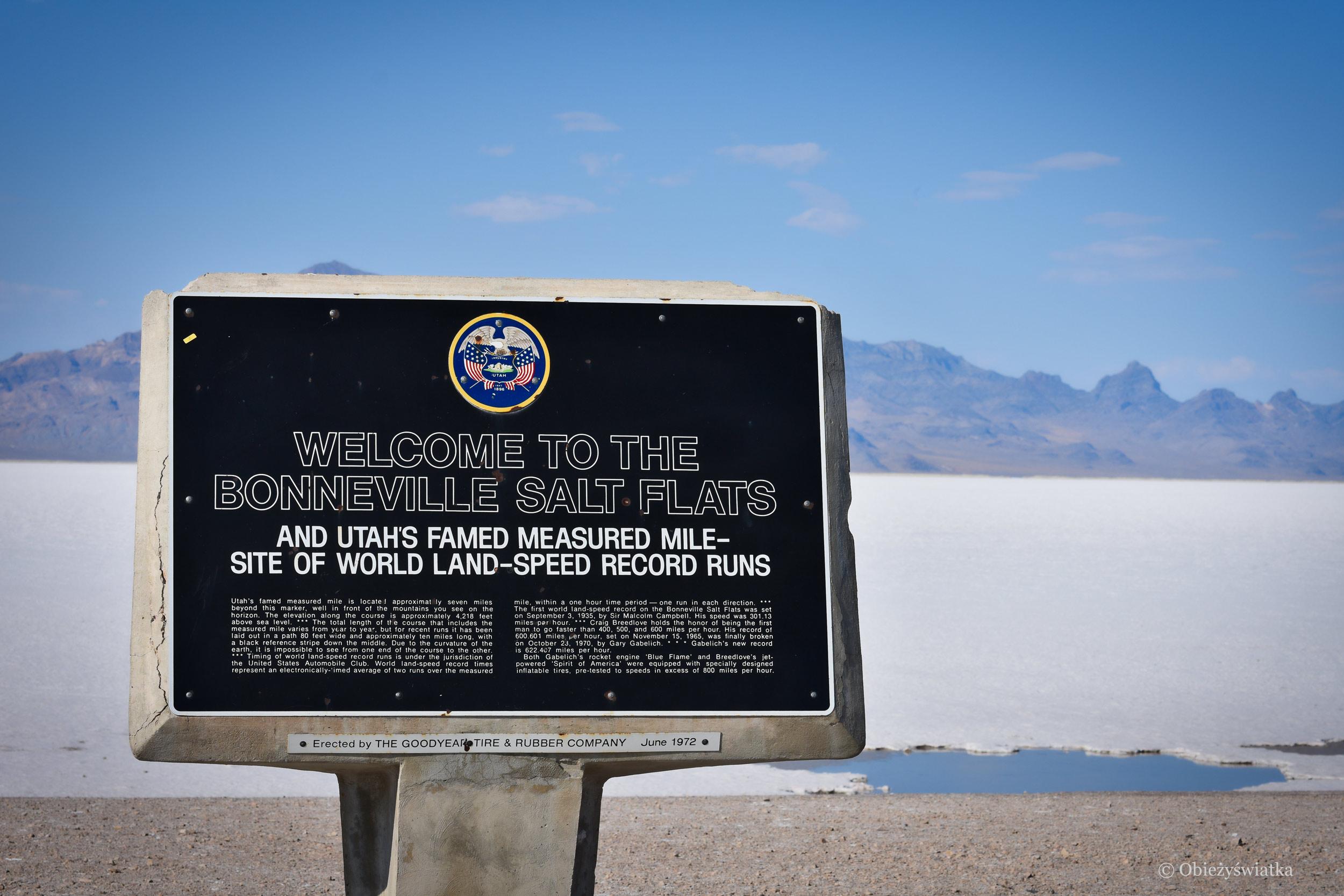 Miejsce bicia rekordów szybkości - Bonneville Salt Flats, Great Salt Lake Desert