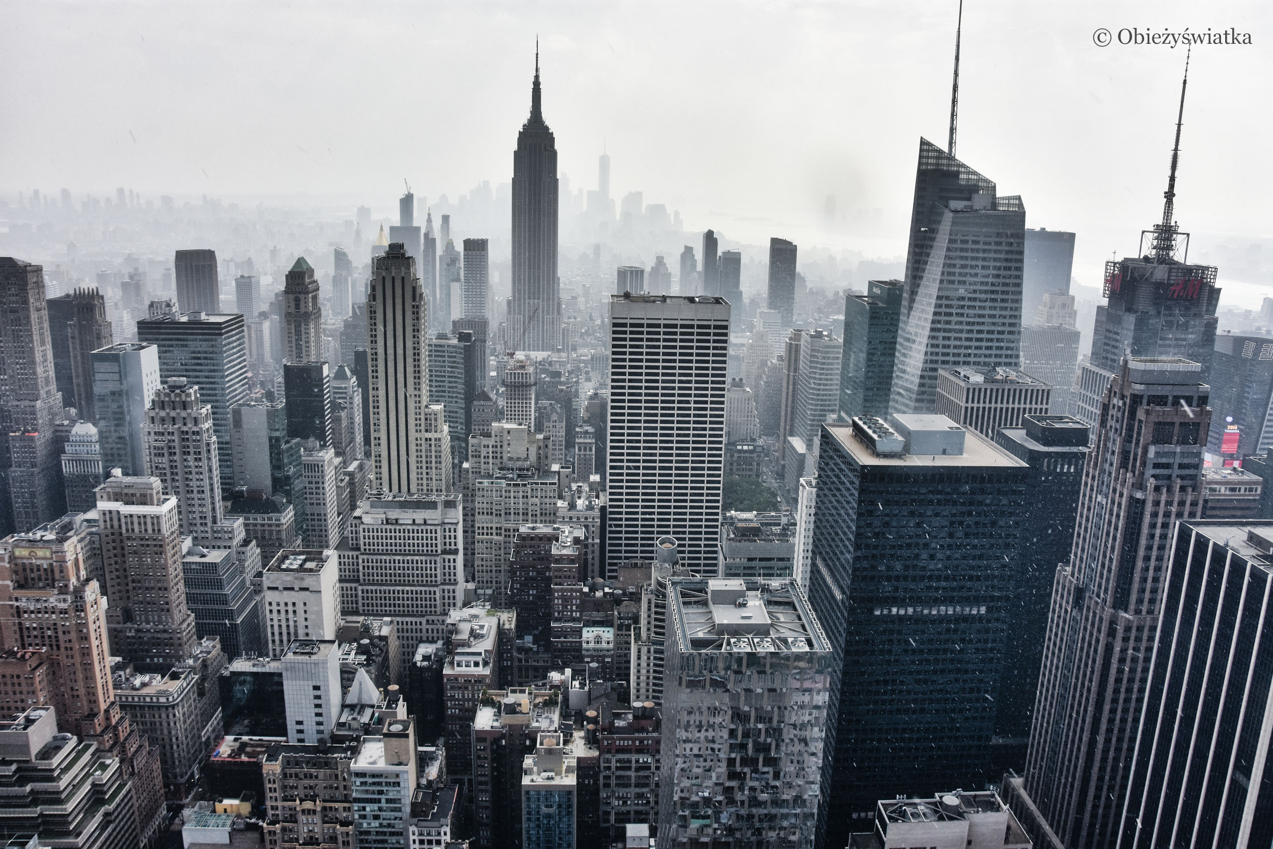 Panorama Nowego Jorku z platformy kompleksu Rockefellera
