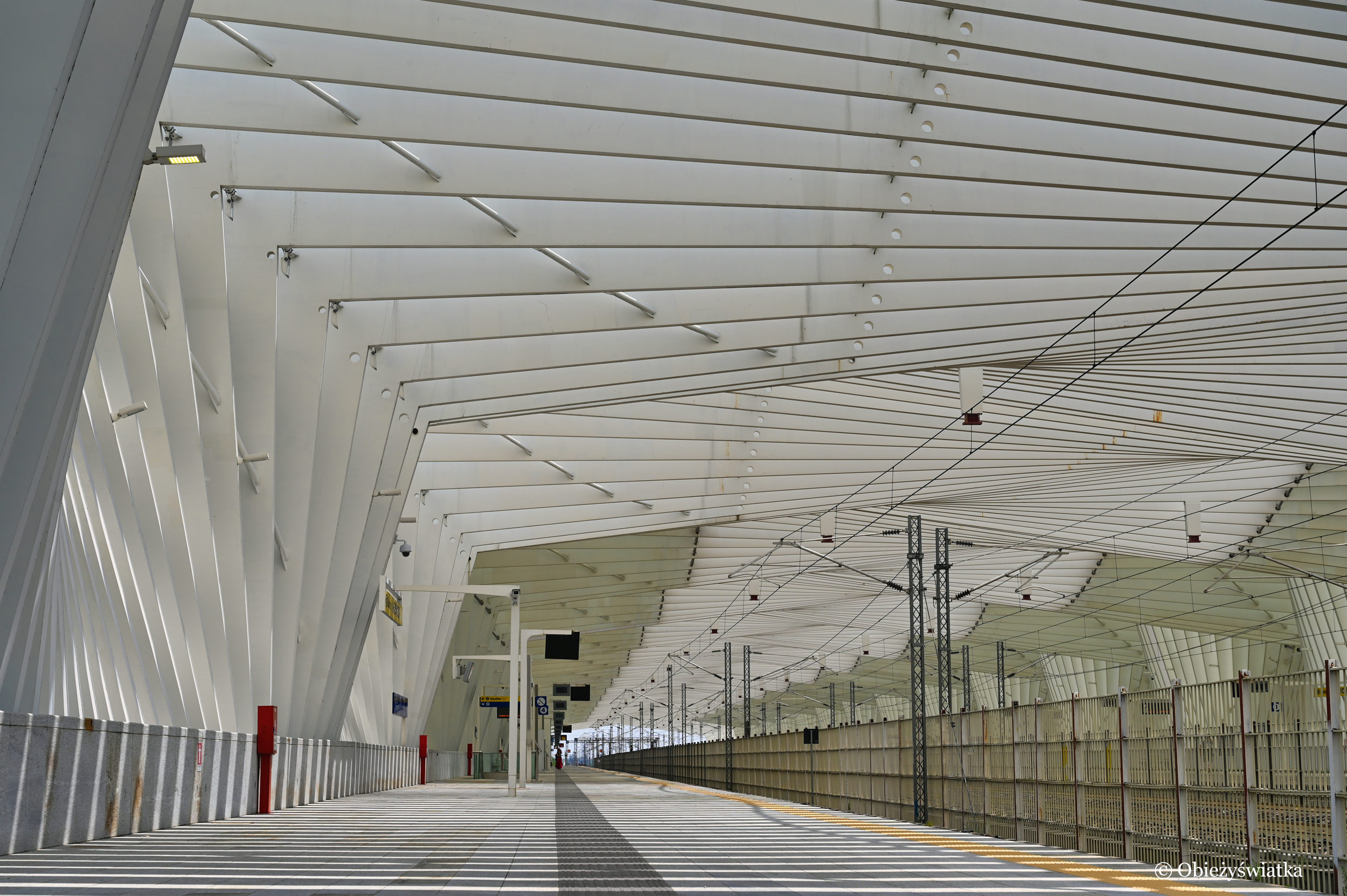 Jeden z peronów na stacji Mediopadana, Włochy