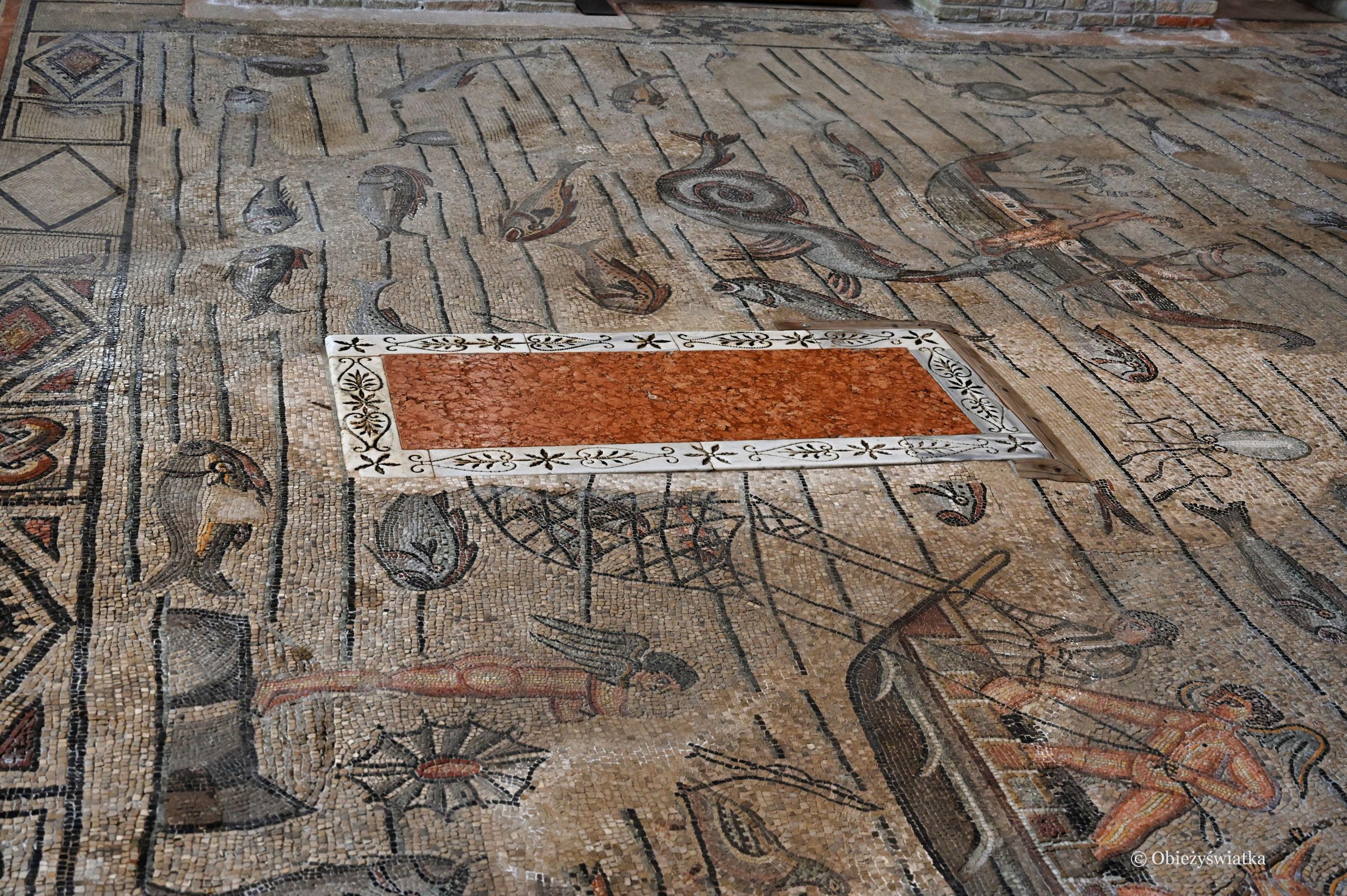 Zabytkowa wczesnochrześcijańska mozaika w Bazylice w Akwilei