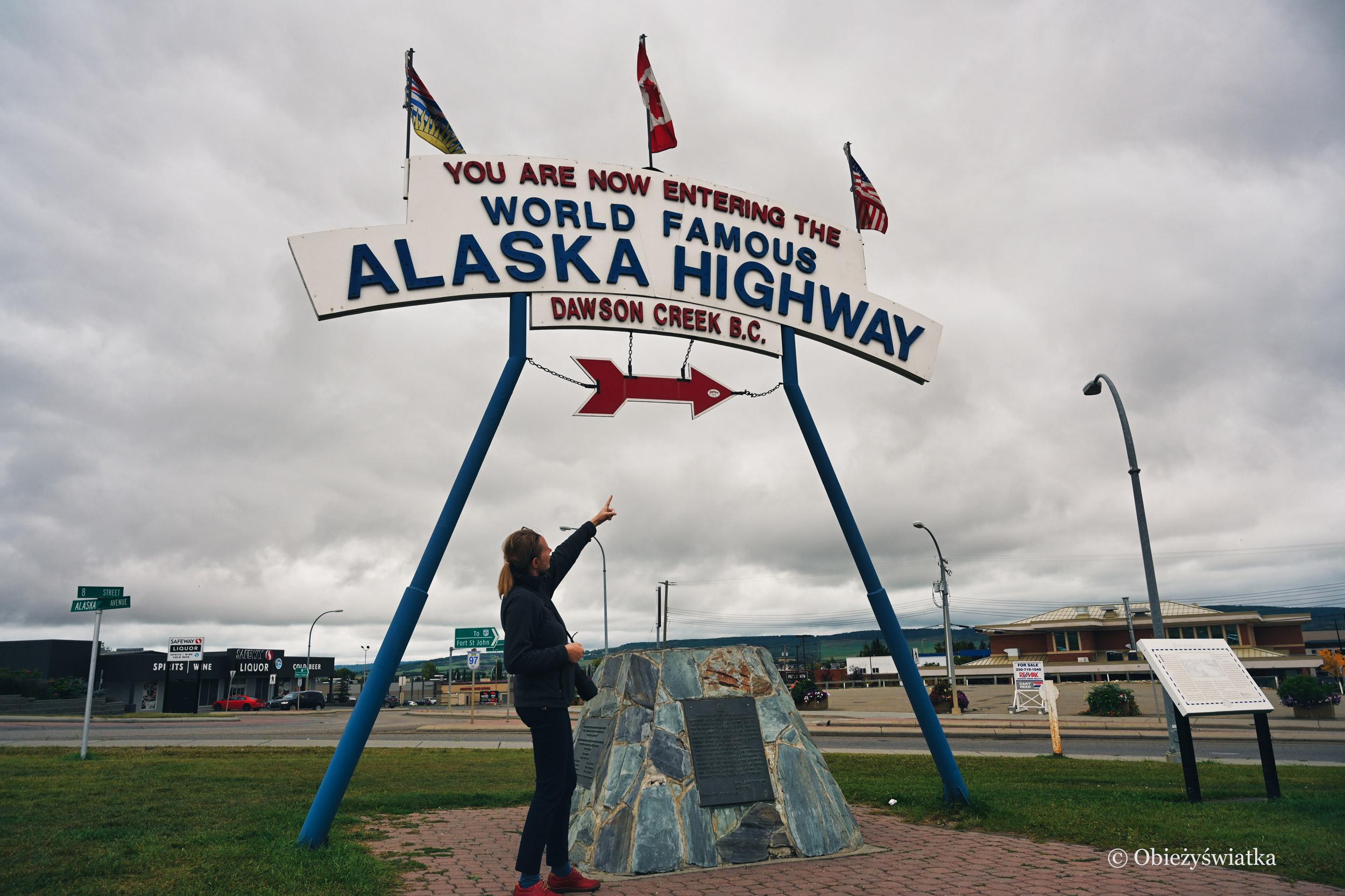Początek Alaska Highway w Dawson Creek, Kanada