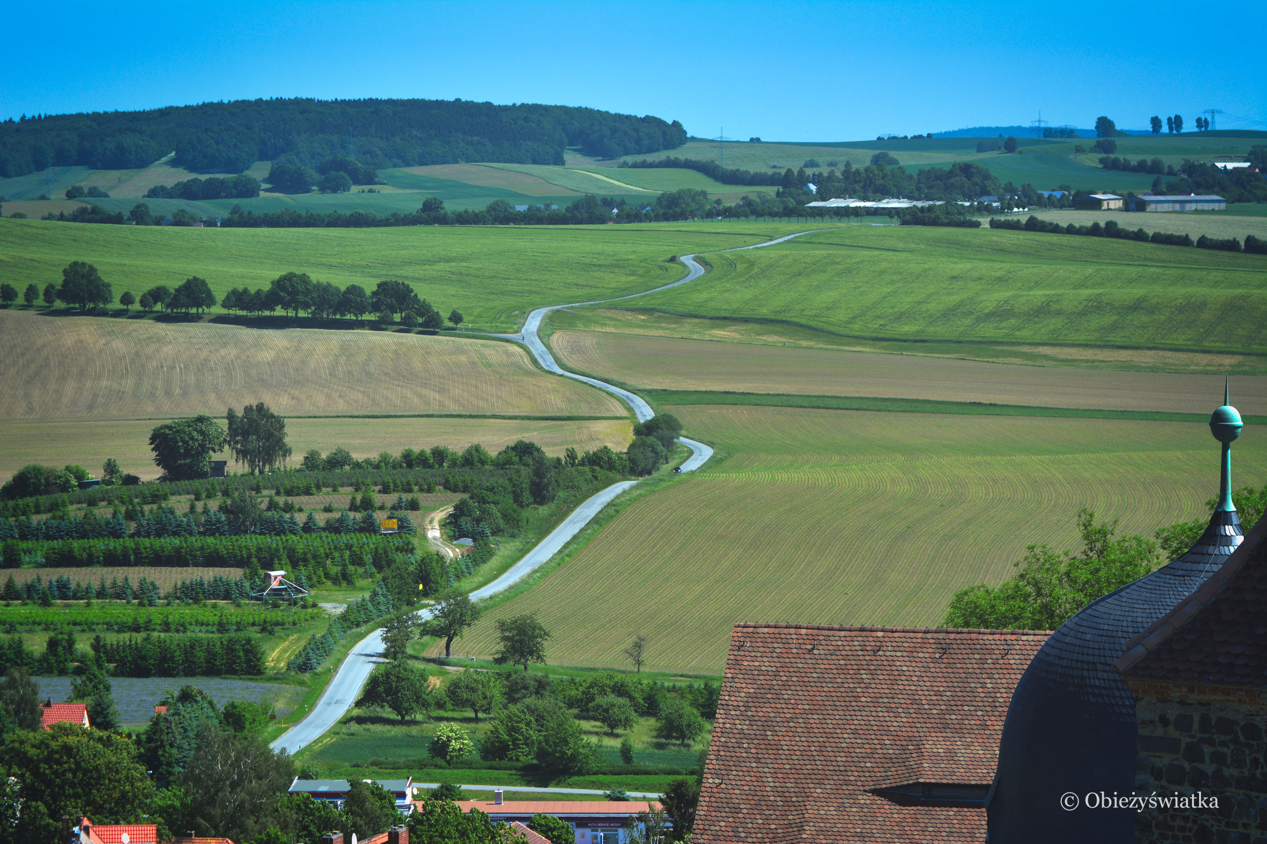 Widok z zamku Stolpen na okolicę