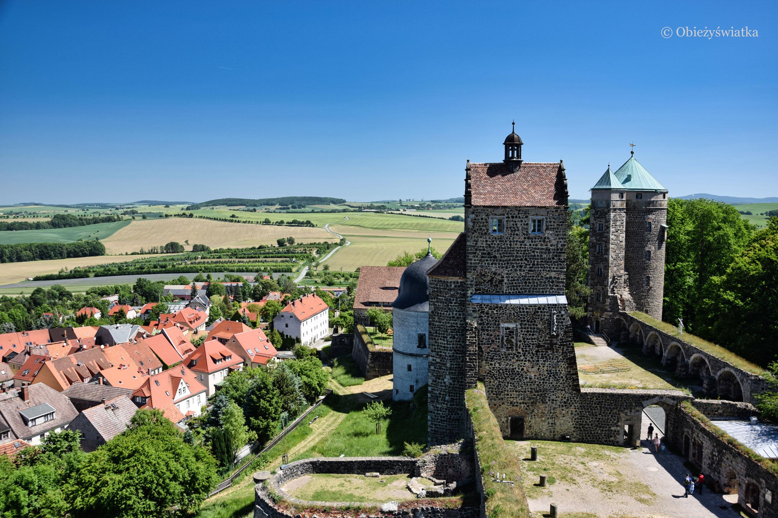 Zamek Stolpen i miasteczko