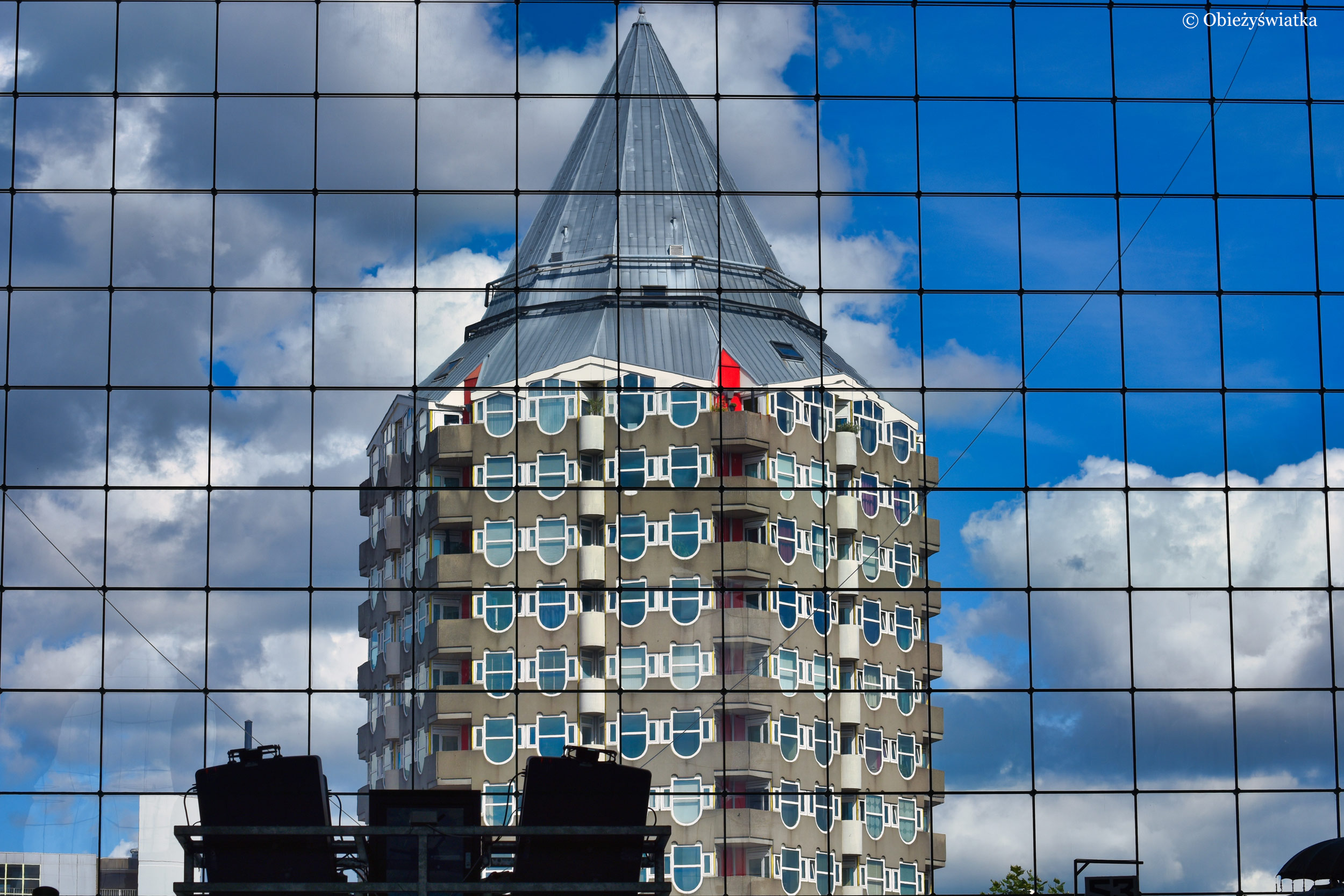 Widok przez oszkloną fasadę Hali Targowej w Rotterdamie