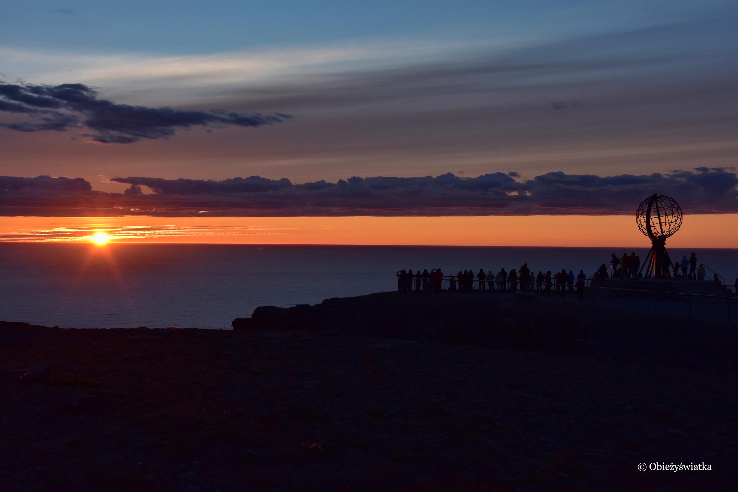 Zachód słońca, Nordkapp, Przylądek Północny, Norwegia