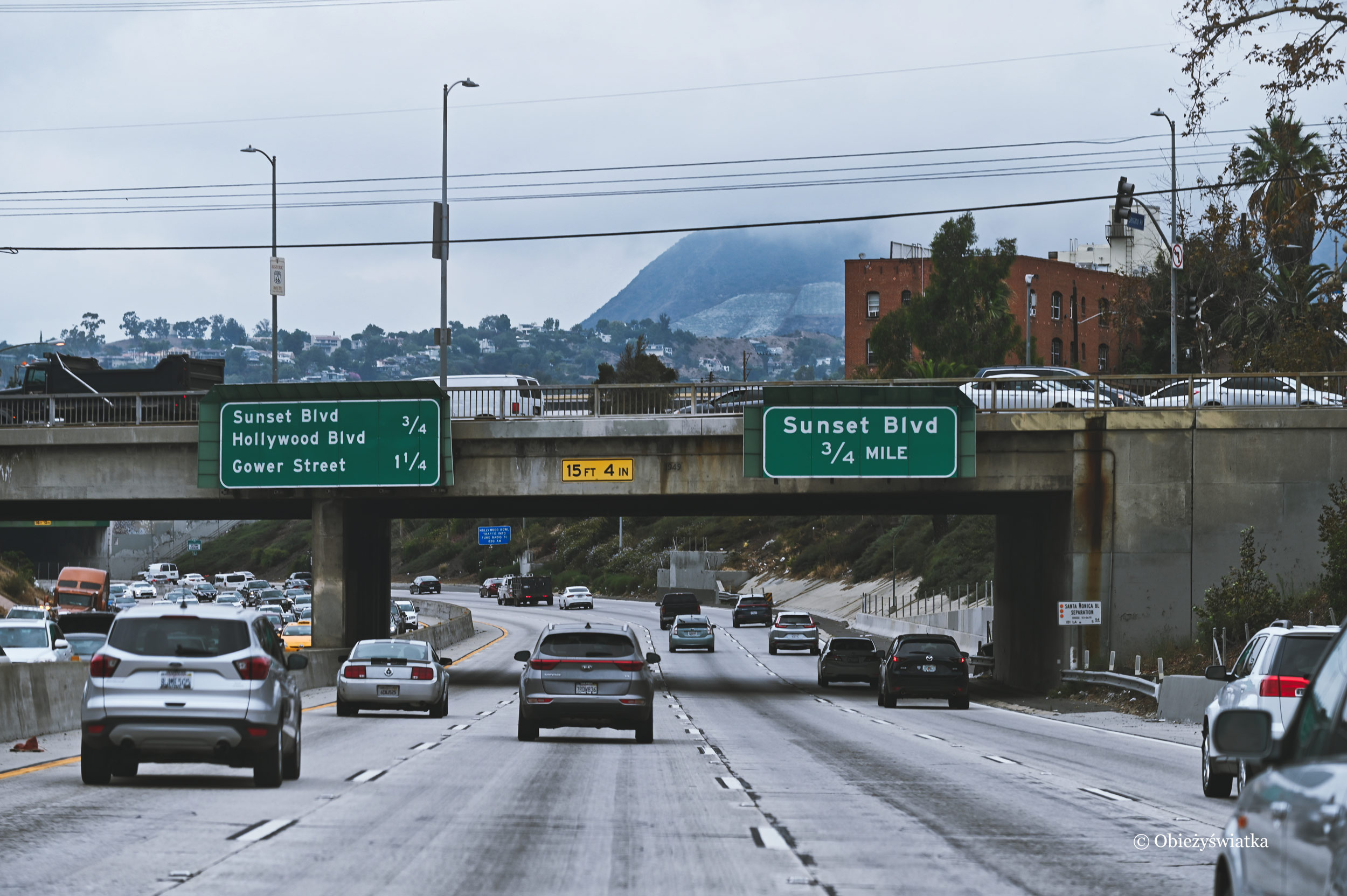 Sunset Boulevard w Los Angeles - część drogi 66