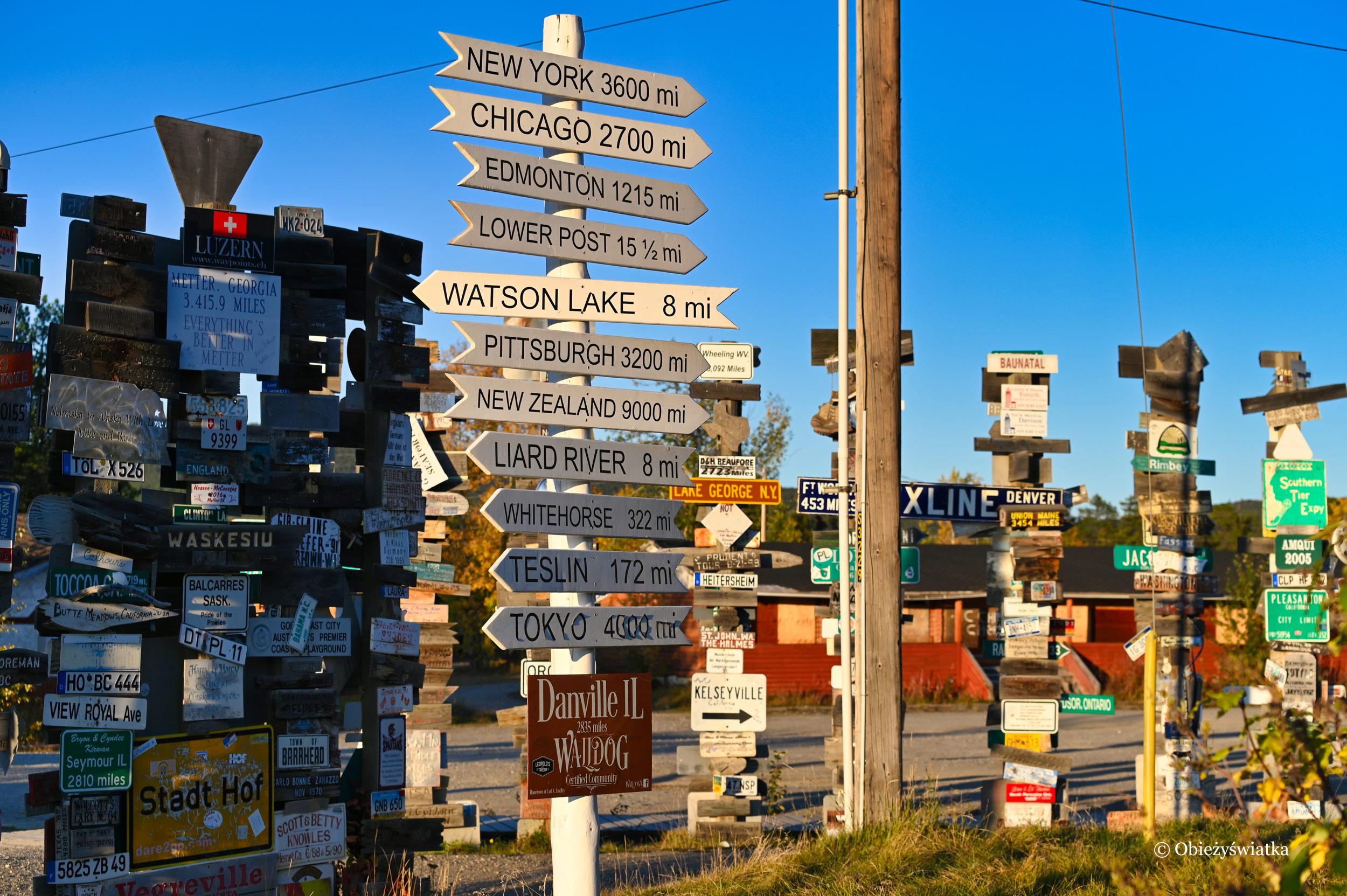 Danville, Illionois - nowy szyld miejscowości Carla Lindleya, Sign Post Forest, Watson Lake