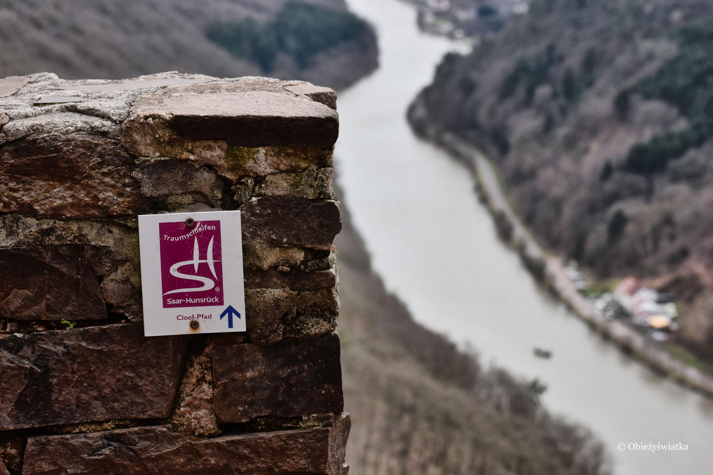 Oznakowanie szlaku - Saarschleife