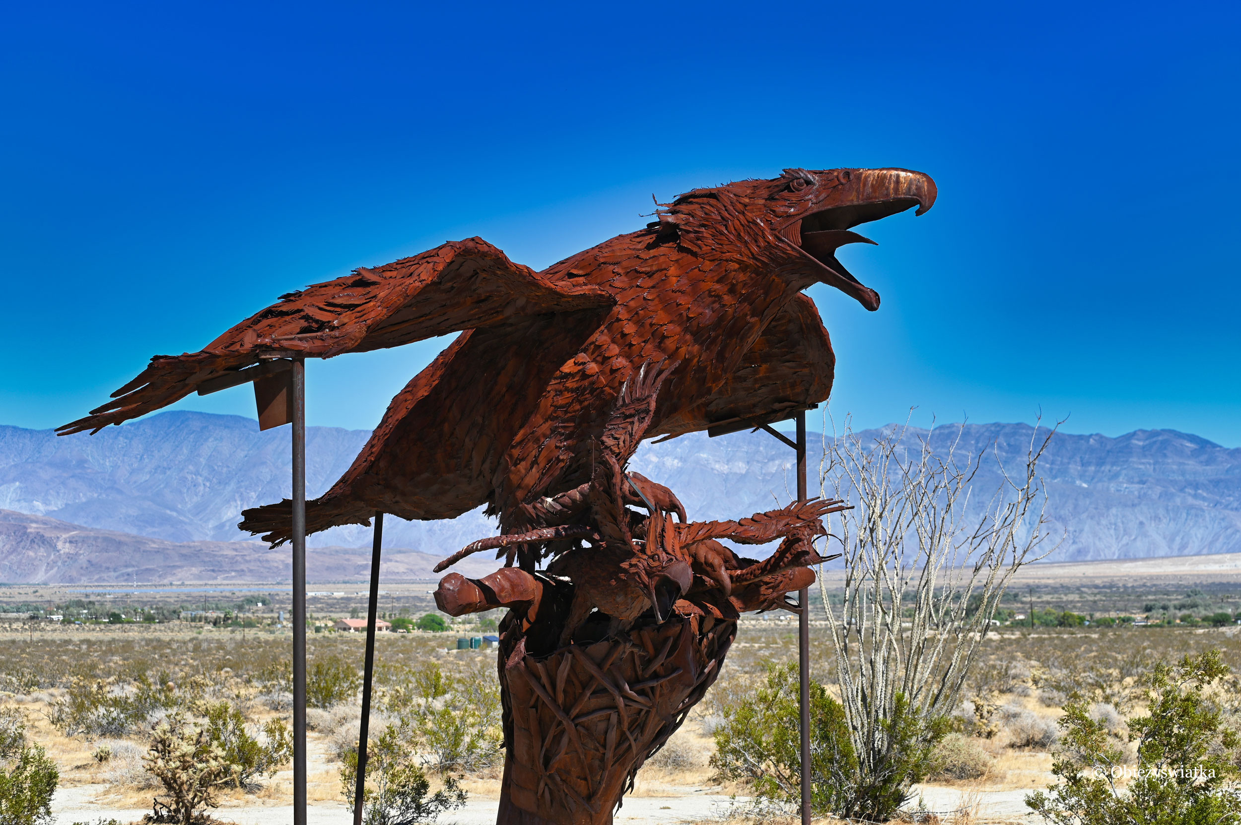 Drapieżnik - rzeźba na pustyni w Borrego Springs