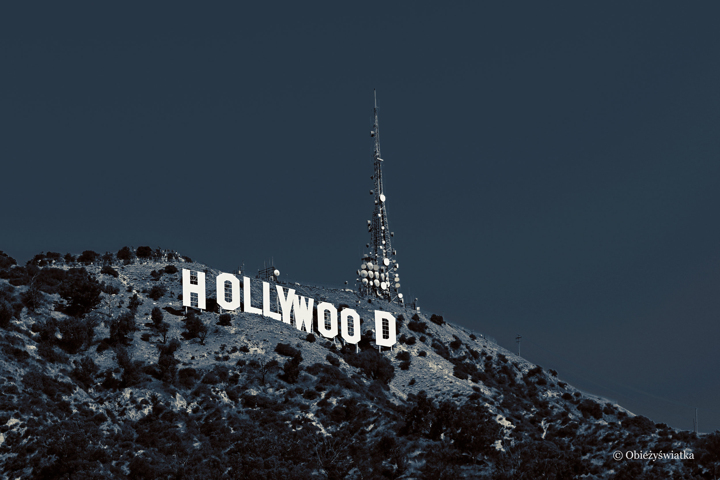 Czarno-biały Hollywood Sign, Los Angeles