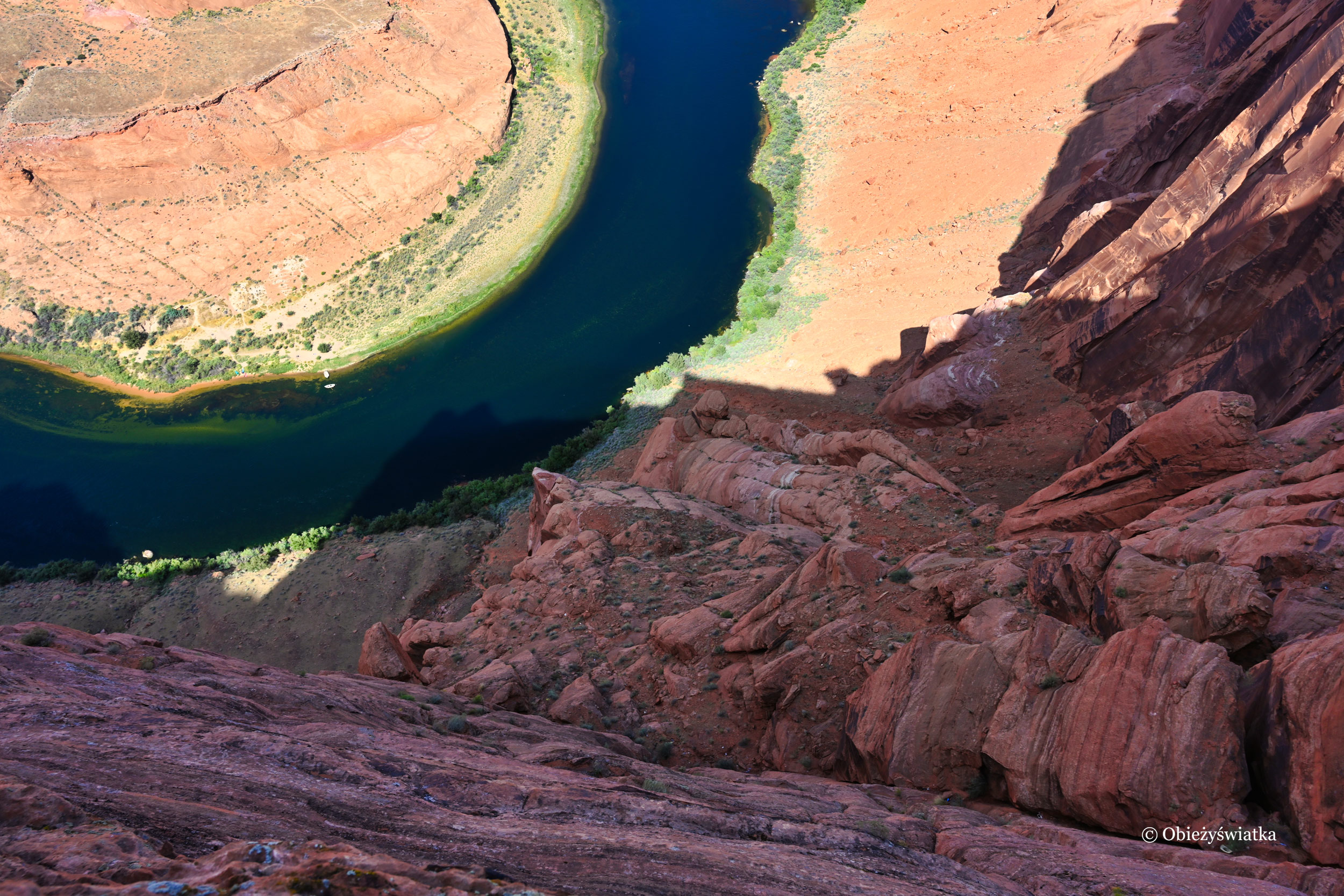Horseshoe Bend Arizona, widok na rzekę Kolorado