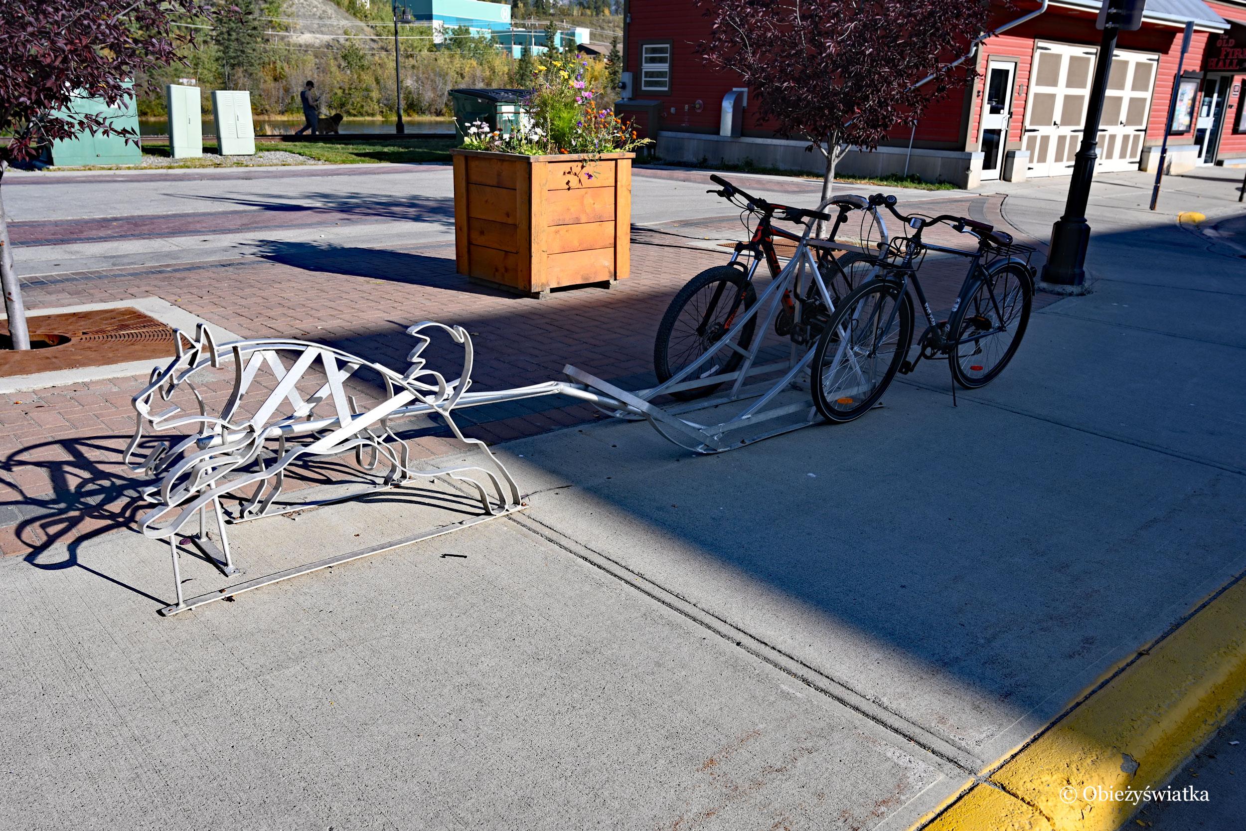Stojak na rowery w kształcie zaprzęgu psów, Whitehorse, Kanada