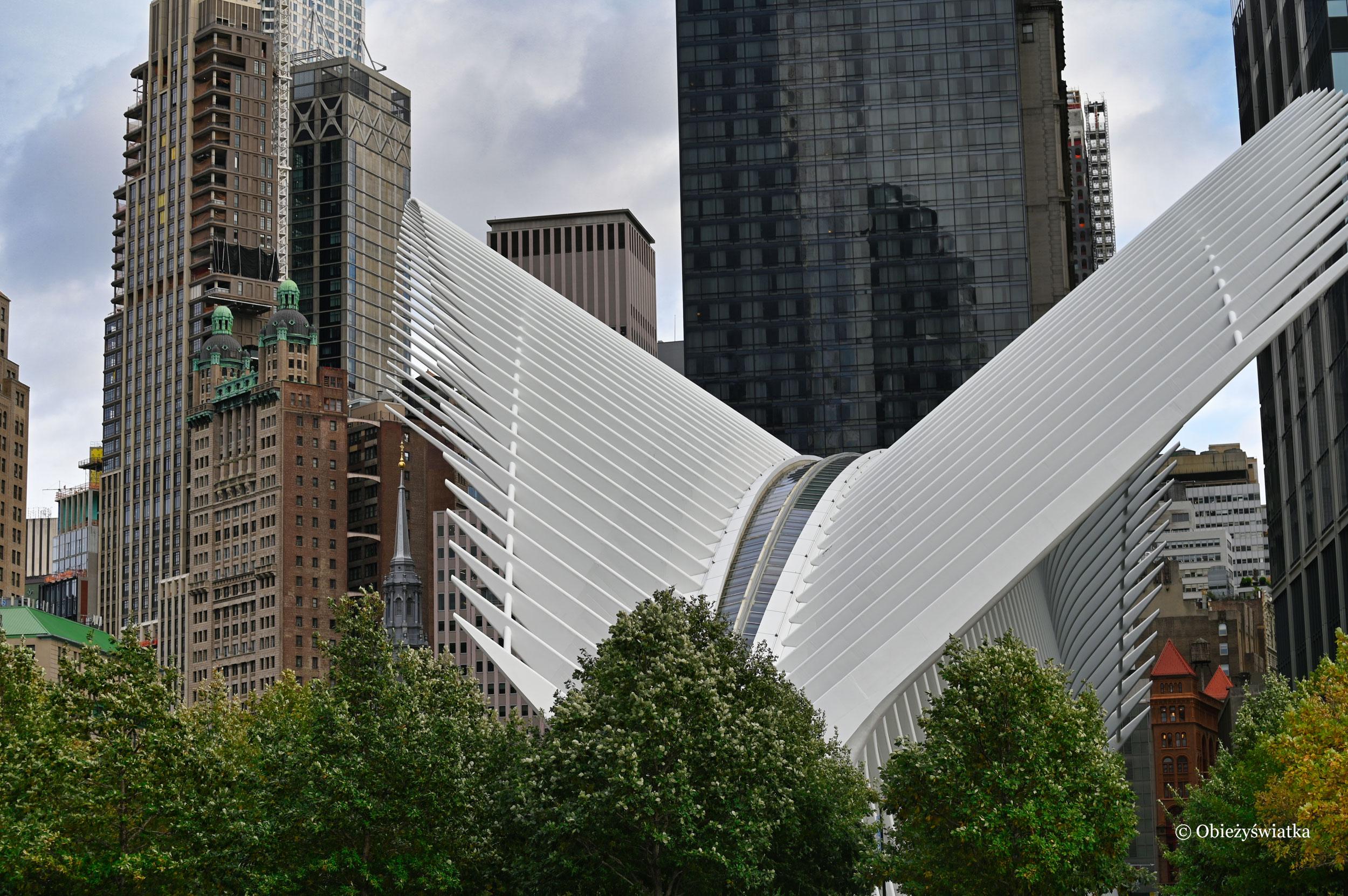Szkieletowa konstrukcja dachu stacji metra przy World Trade Center, Nowy Jork