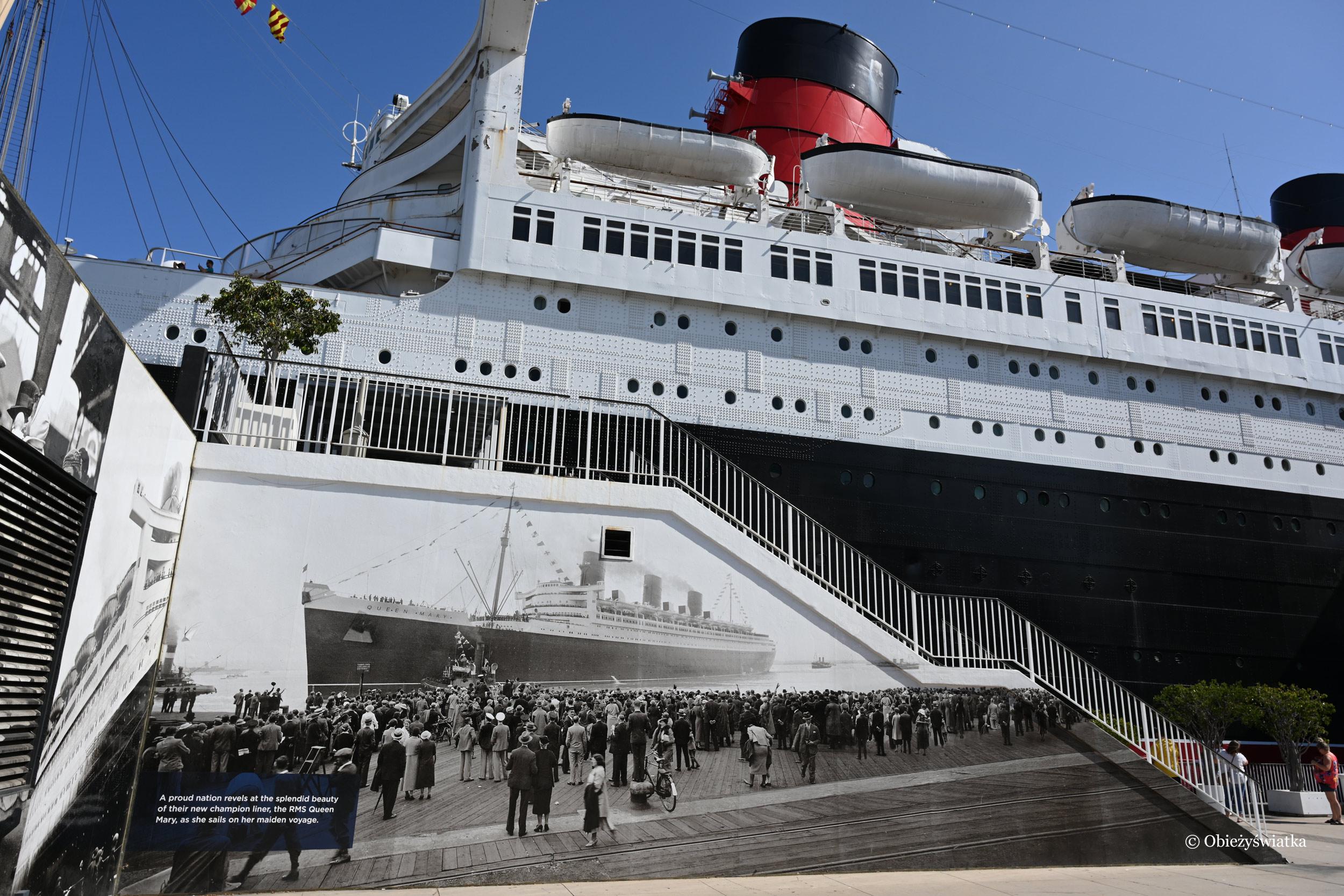 Pierwszy transatlantyk Queen Mary 2 z 1936 roku - dzisiaj jako hotel w Long Beach, Kalifornia