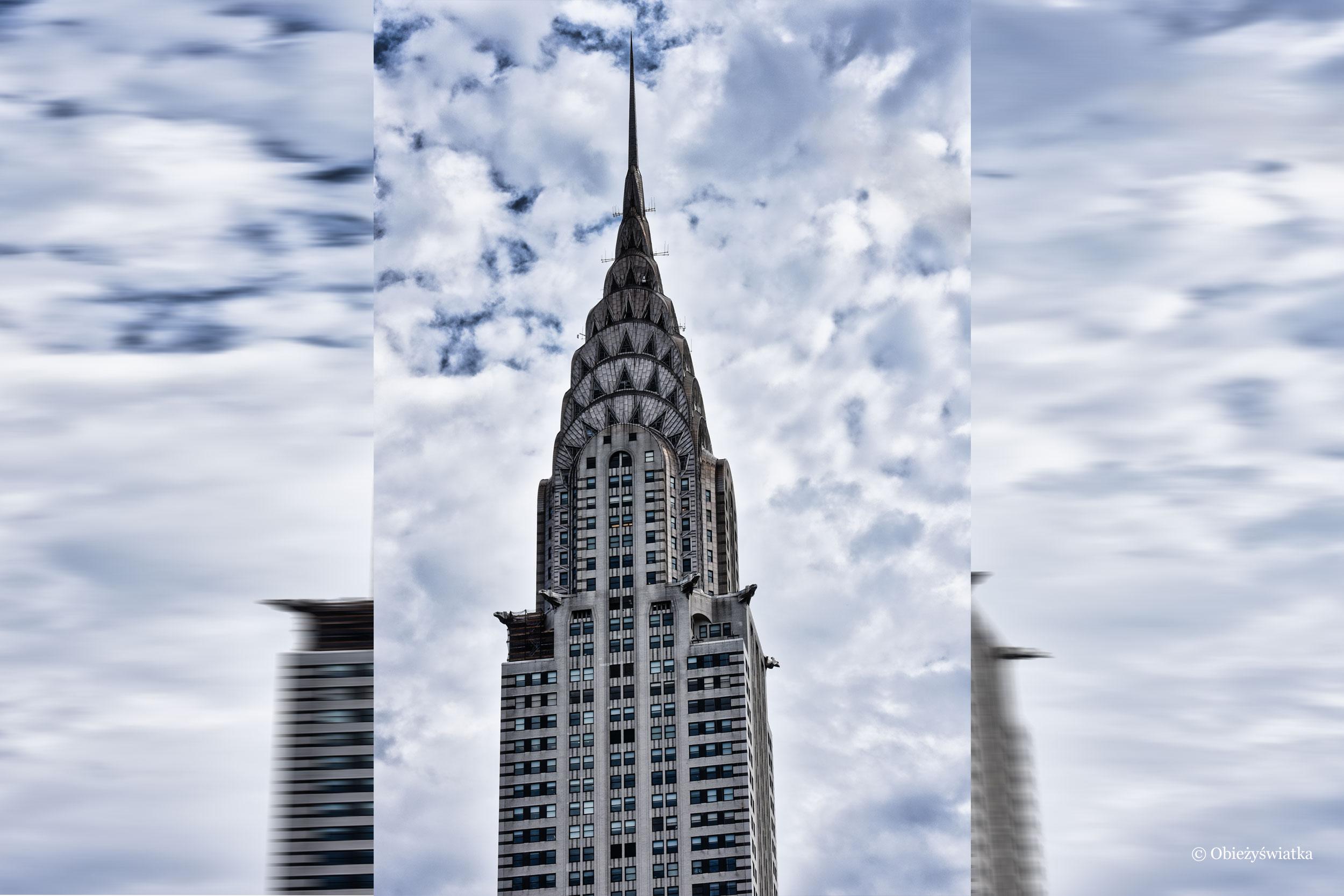 Charakterystyczna kopuła w stylu art deco Chrysler Building, Nowy Jork