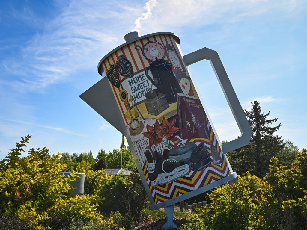 Coffee pot monument, Davidson Town, Canada