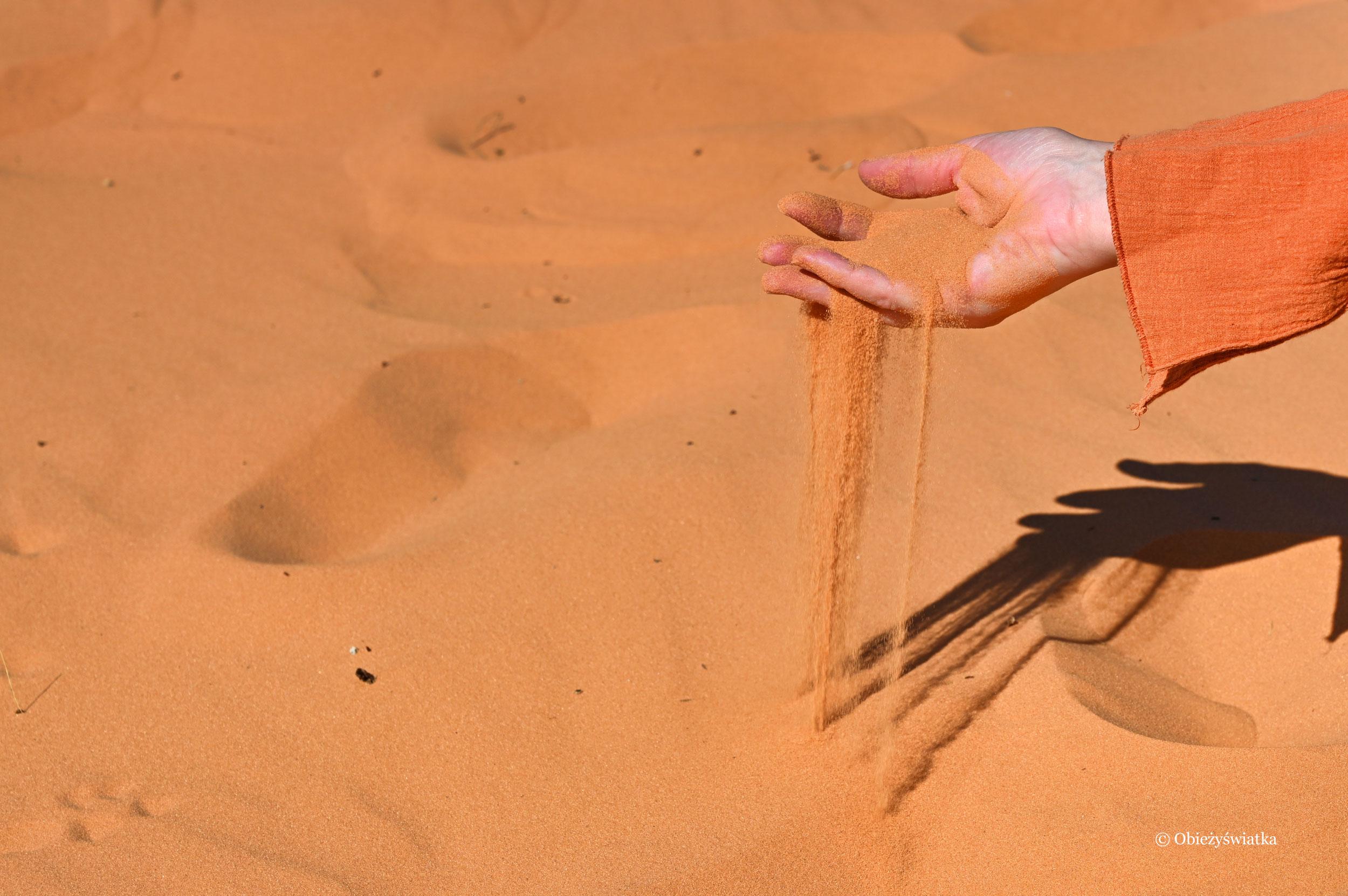 Pomarańczowe ziarenka piasku, Coral Pink Sand Dunes State Park, Utah