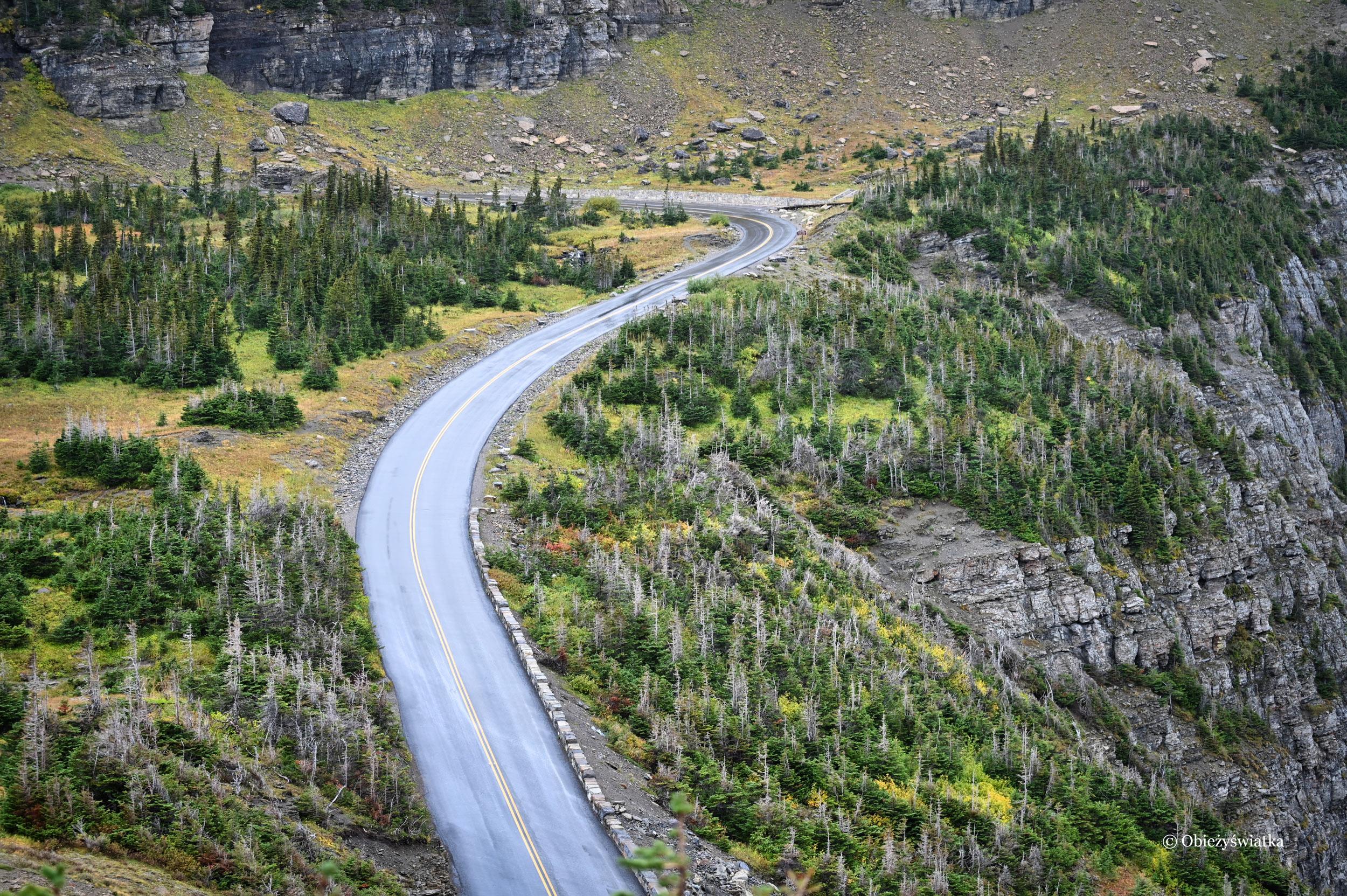 Going to the Sun Road na przełęczy Logana, Montana