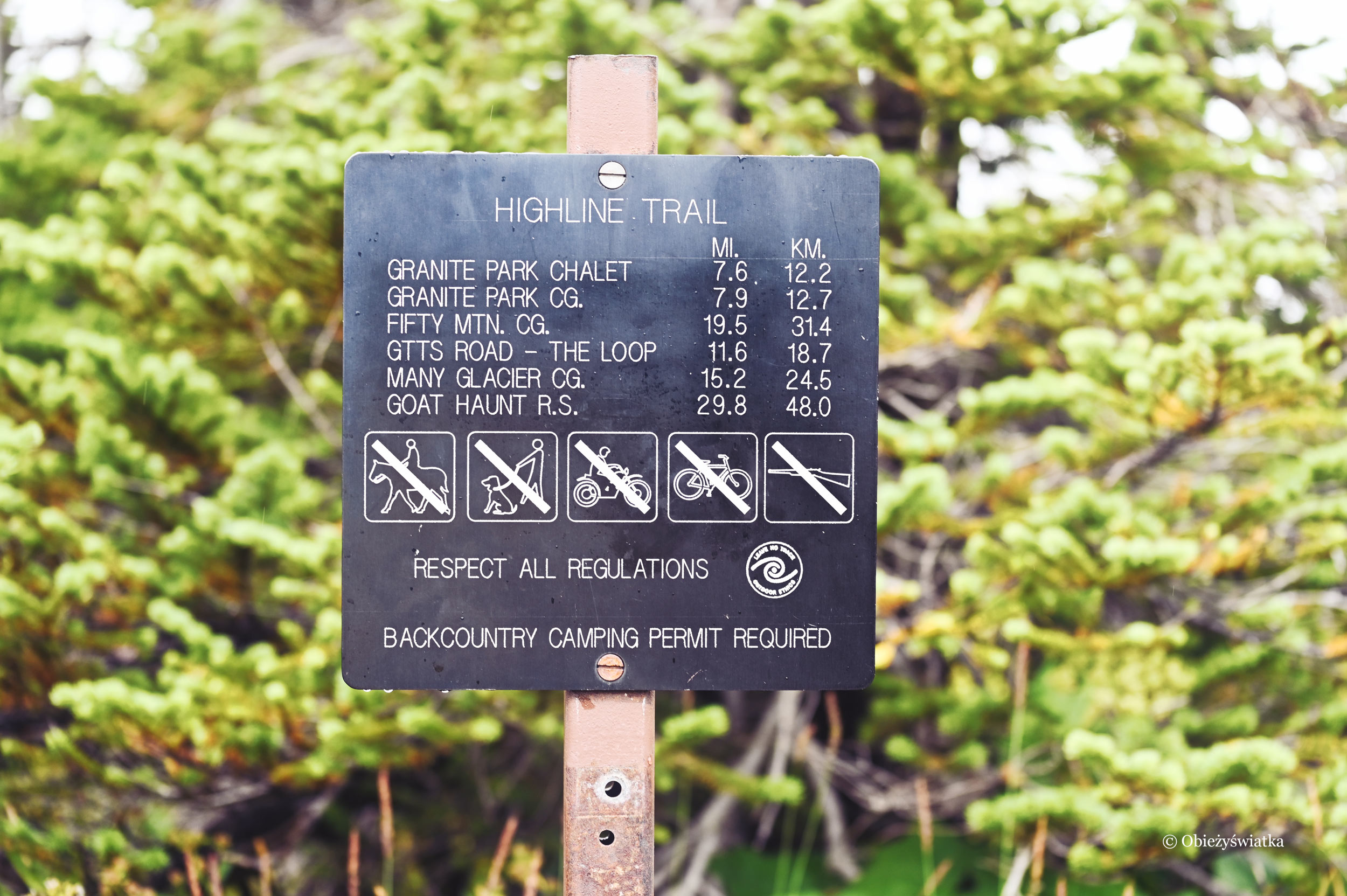 Szyld szlaku Highline Trail, Glacier National Park, Montana, USA