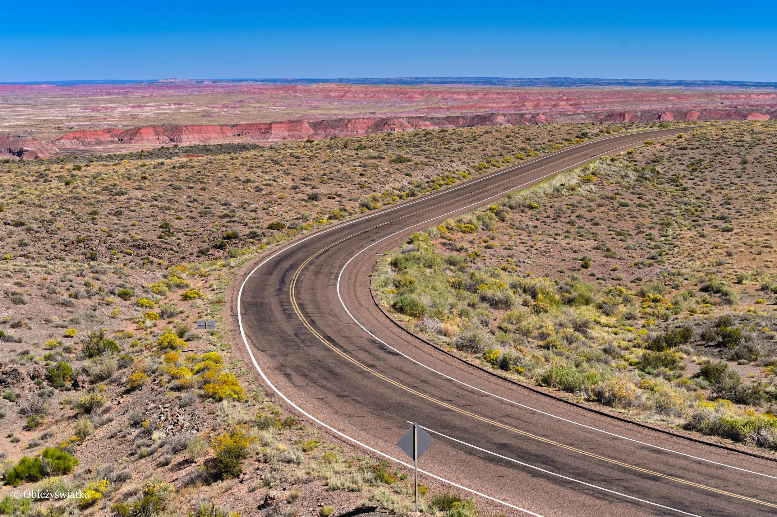 Jadąc przez Pustynię Pstrą - Painted Desert, Arizona