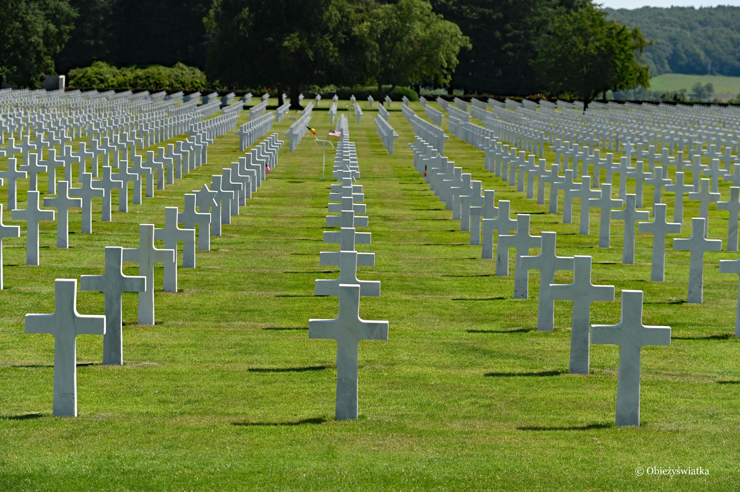 Białe krzyże... - groby amerykańskich żołnierzy, którzy zginęli w czasie II wojny światowej, Henri Chapelle, Belgia