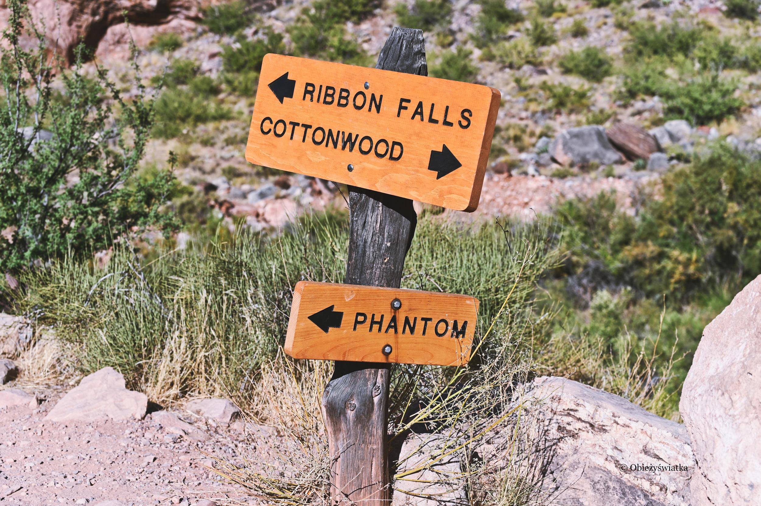 Szyldy na szlaku North Kaibab Trail, Grand Canyon
