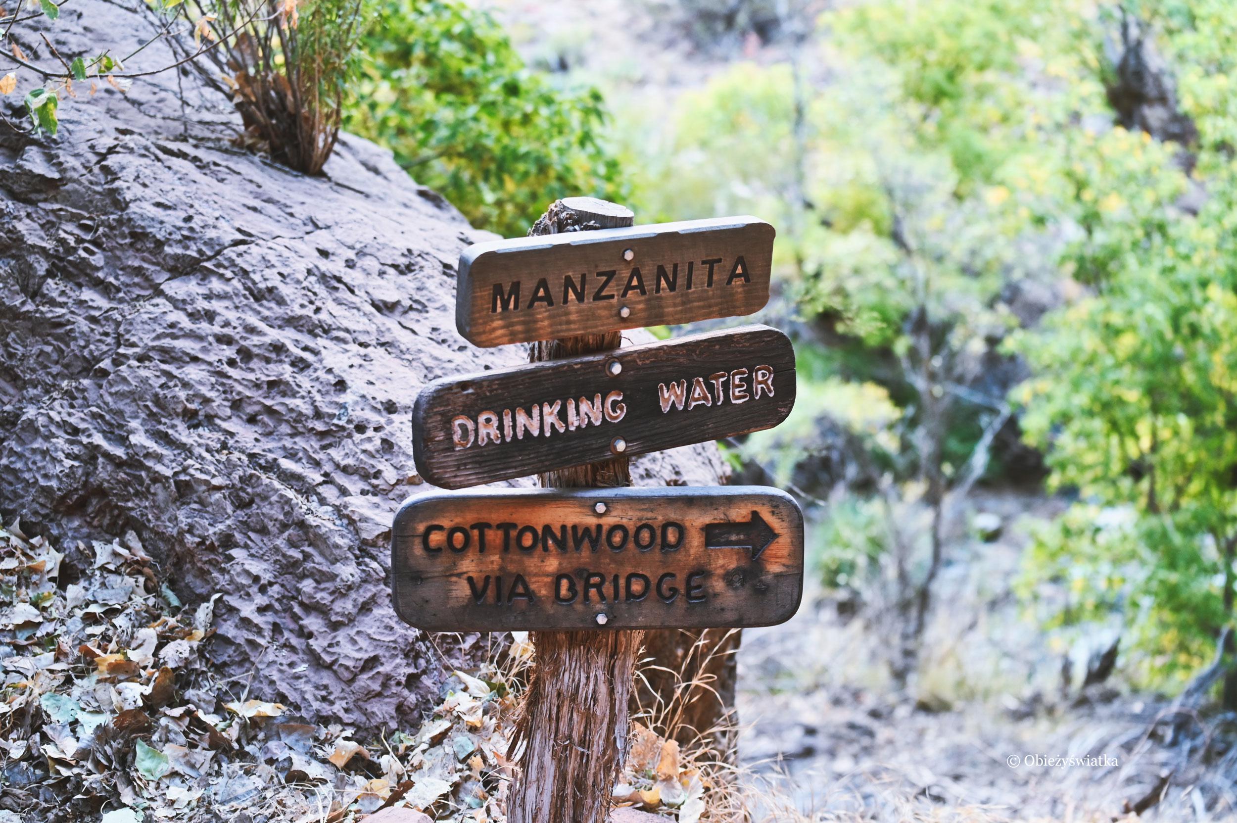 Oznakowanie na trasie North Kaibab Trail, Grand Canyon