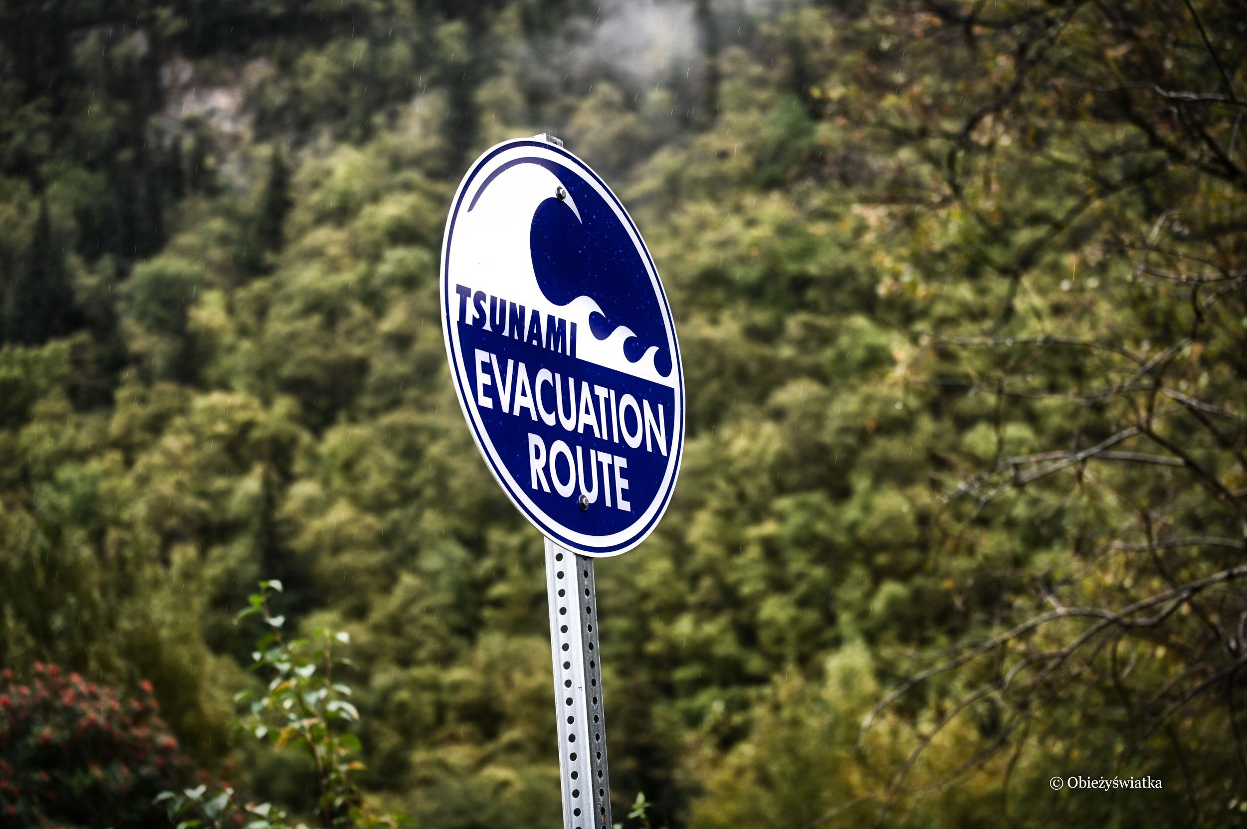 Droga ewakuacyjna w razie tsunami - jesteśmy nad Pacyfikiem, Skagway, Alaska